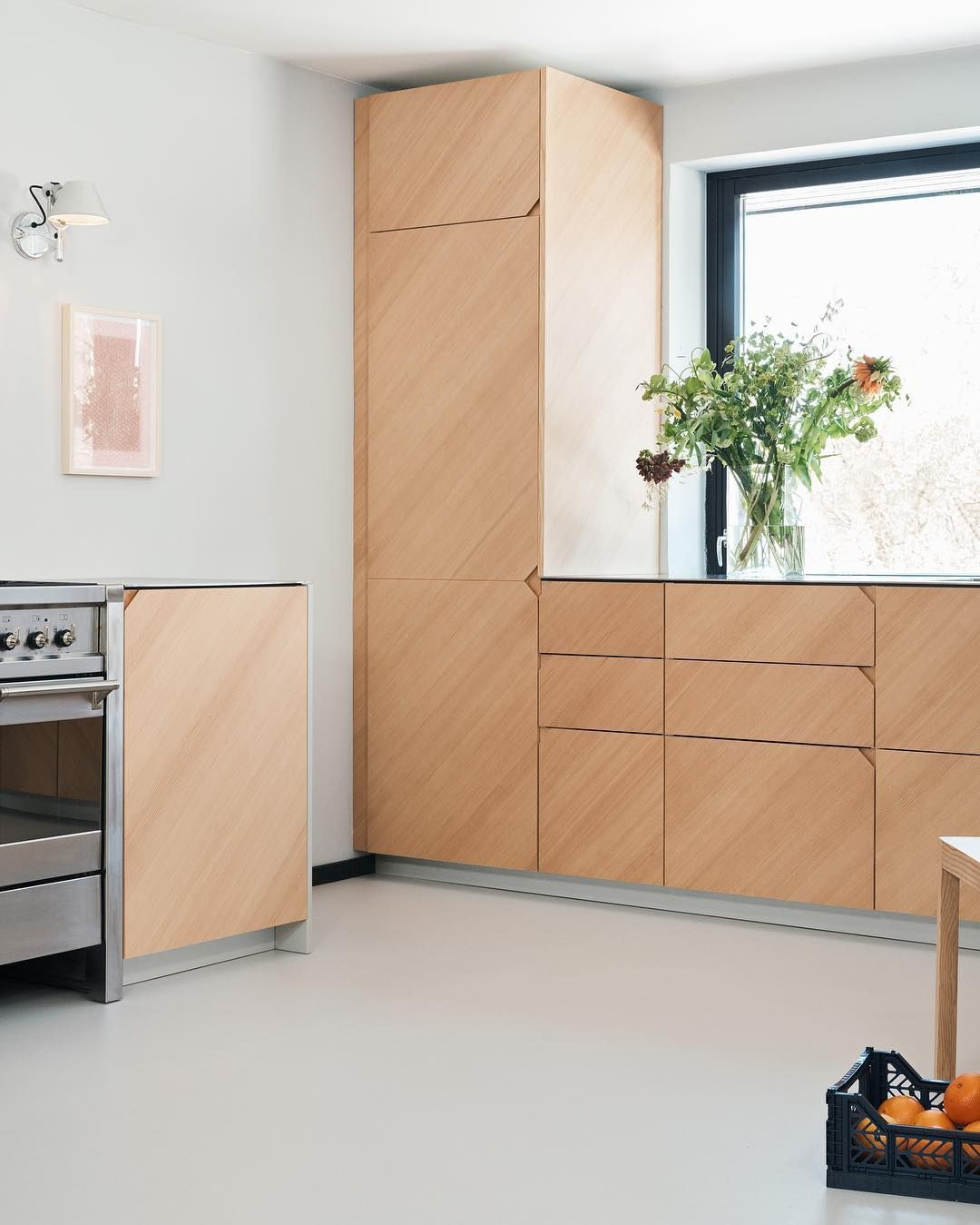 Degree By Cecilie Manz In Oregon Pine And Countertop In Steel The Wood Grain Of The Oregon Pine Is Laid At A 45 Degr Kitchen Design Kitchen Design Images Home