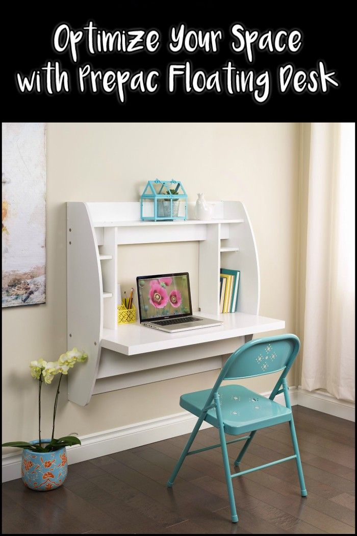This Innovative And Stylish Wall Mounted Desk Lets You Put A Good Sized Desk Into Virtually Any Room White Floating Desk Prepac Floating Desk Desk Storage
