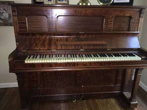 Well Loved And Used. Antique Furniture Precise Upright Victorian Piano With Fluting And Inlaid Decoration Benches/stools
