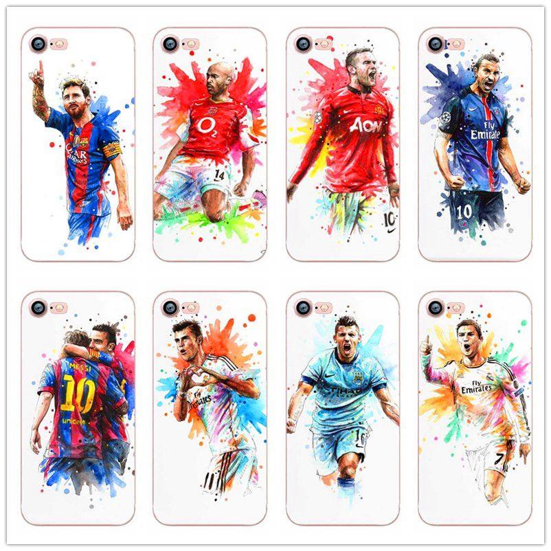 ab80fc34916 Messi soccer star ronaldo cover white hard plastic Case for iPhone 7 7 Plus  6 6S Plus 5 5S SE Case Coque