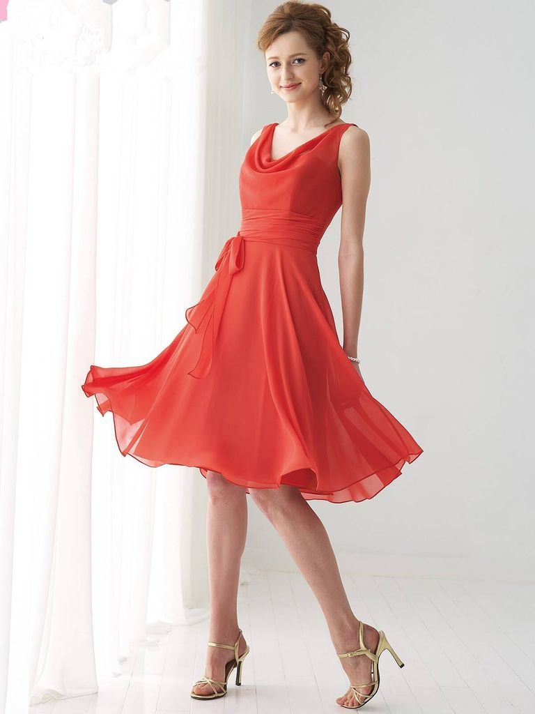 Aline sleeveless vback sash kneelength chiffon bridesmaid dresses
