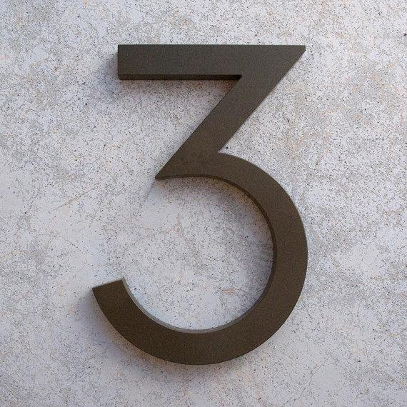 Modern House Number Aluminum Modern Font Number Three 3 In Etsy In 2020 Modern House Number House Numbers Modern House
