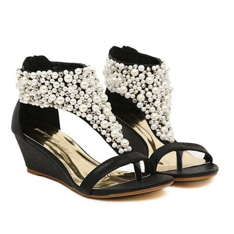 9141ab4543889 Buy Women Wedge Shoes Rhinestone Zipper Pear Beaded Wedge Sandals ...