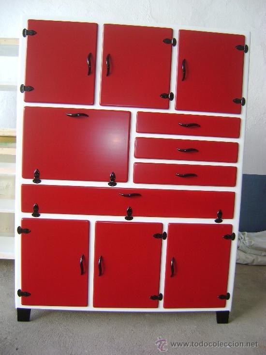 Alacena aparador armario mueble de cocina retro for Muebles antiguos reciclados