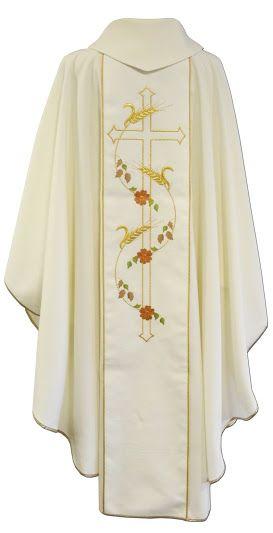 e84594dd8b2 Casulla blanca de poliéster con espigas y Cruz bordadas   White liturgical  chasuble in polyester with