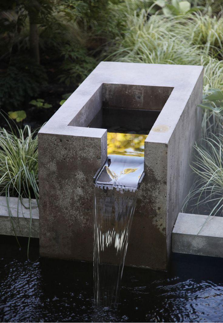Gartenideen Pinterest Wasserfall Beton Modern Ziergraser Moderne