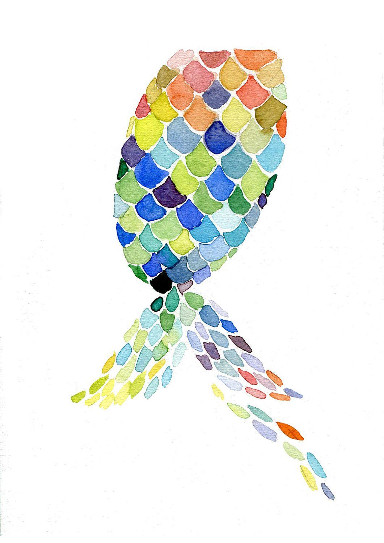 Color art printing anchorage - Mermaid Nursery Decor Watercolor Mermaid Tail Art Print