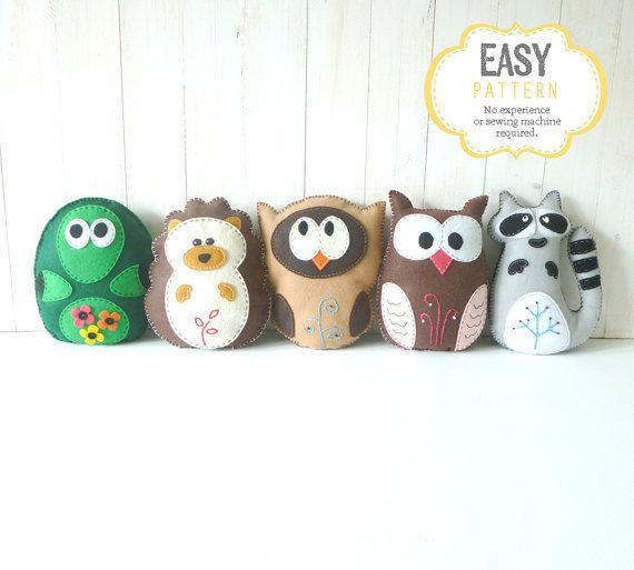 Woodland Stuffed Animal Sewing Patterns, Felt Owl, Plush Raccoon ...