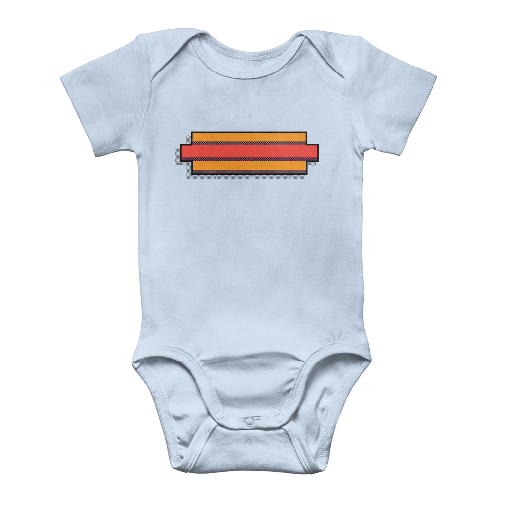 Young Signature Collection: 8-bit HotDog Classic Baby Onesie Bodysuit - Light Blue / 3 to 6 Months