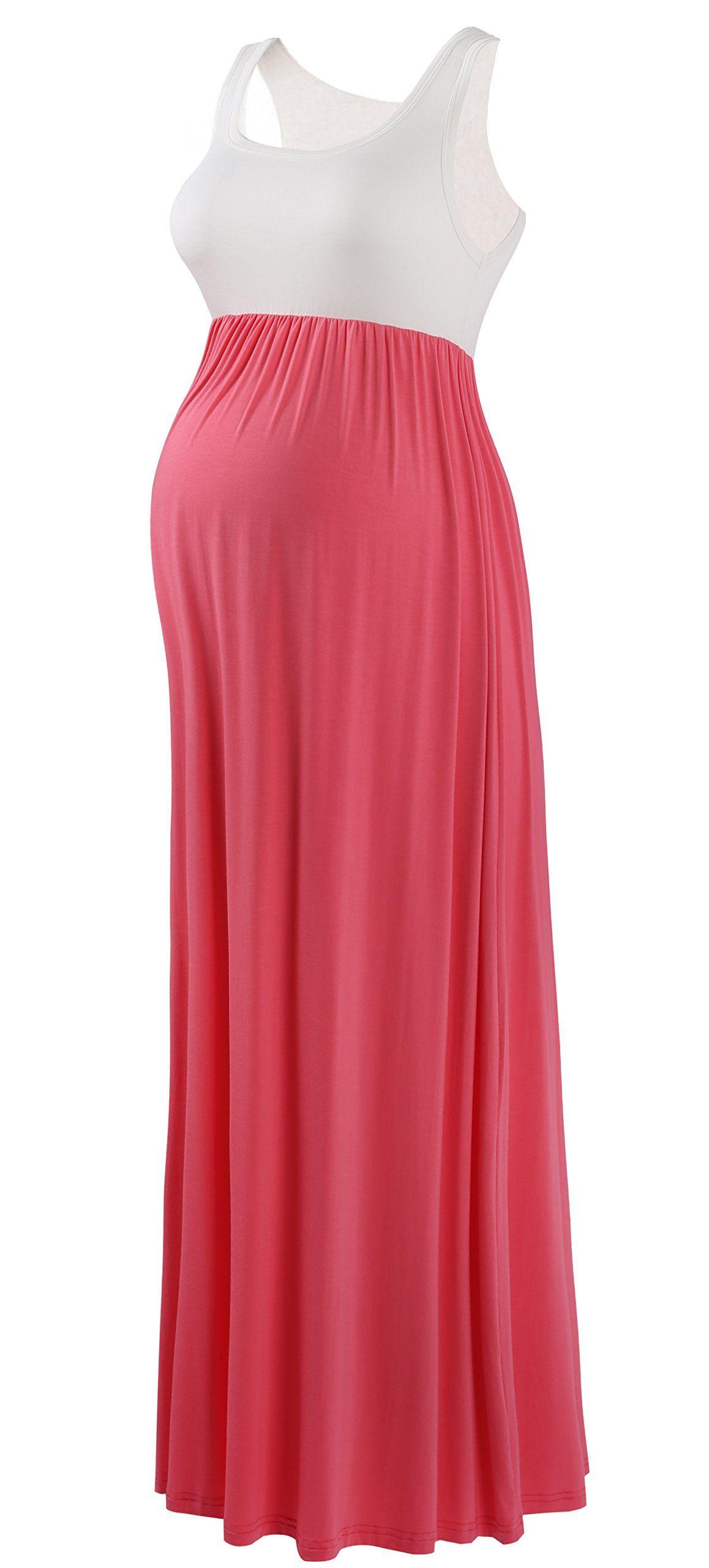 1d5fde2cbb1bc Maternity Fashion - baggy maternity maxi dress : Zinmore Maternity Dress  Pregnancy Maternity Skirt Contrast Maxi Tank Dress XLarge White/Coral ***  Want ...