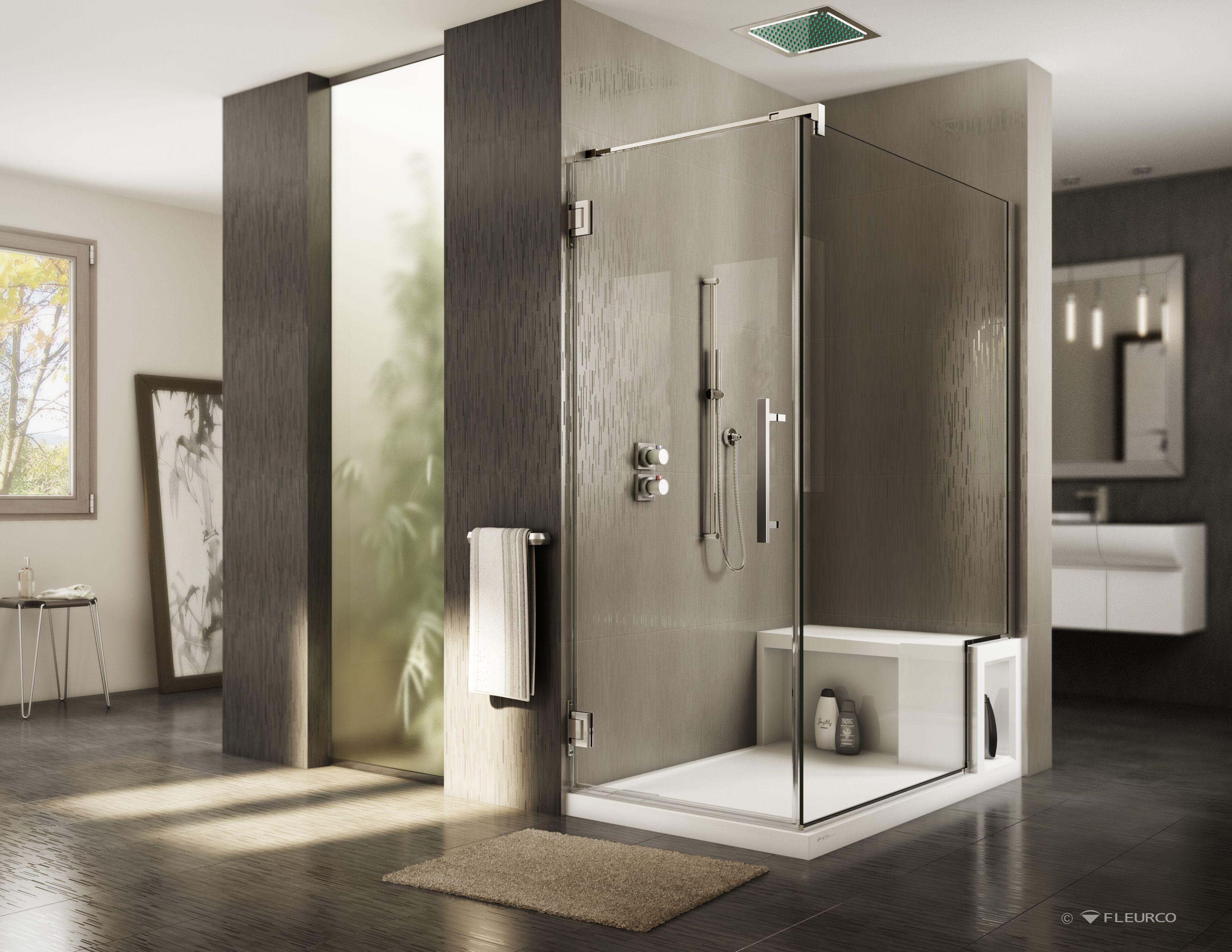 Fleurco\'s shower door with return panel, wall-mount hinge door ...