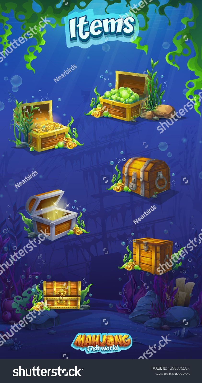 Vector background set of various wooden chests. Bright