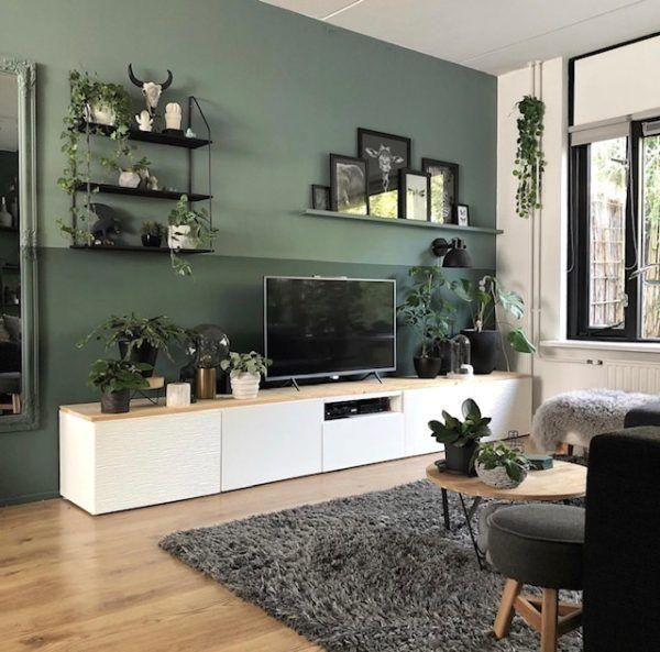 Living Room With White Tv Cabinet And Green Wall Living Room Decor Modern Interior Design Living Room Warm Living Room Warm