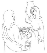 Jesus And The Samaritan Woman At The Well Many Coloring Page