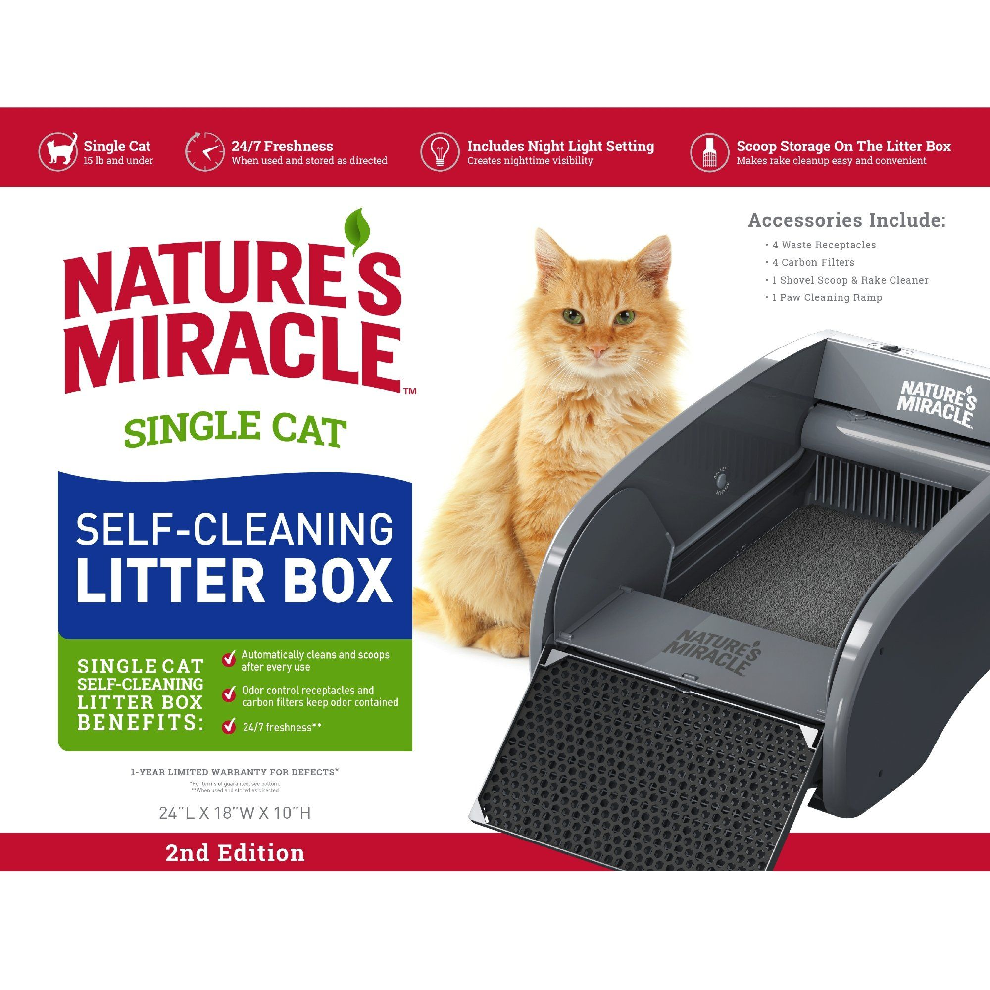 Nature's Miracle Single Cat SelfCleaning Litter Box