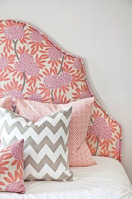 Headboard Patterns pink, orange, grey, love the colors & the patterns | patterns