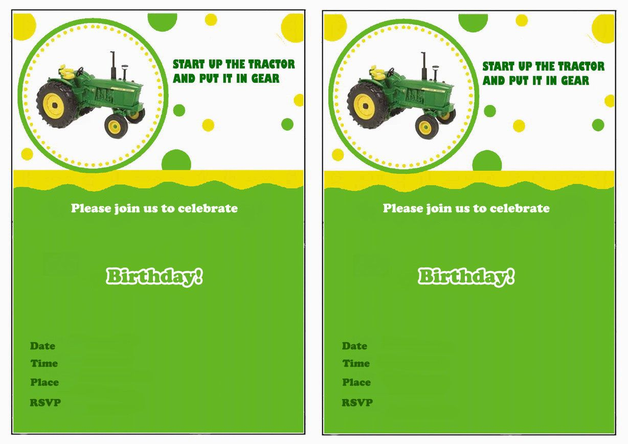 John Deere FREE Printable Birthday Party Invitations