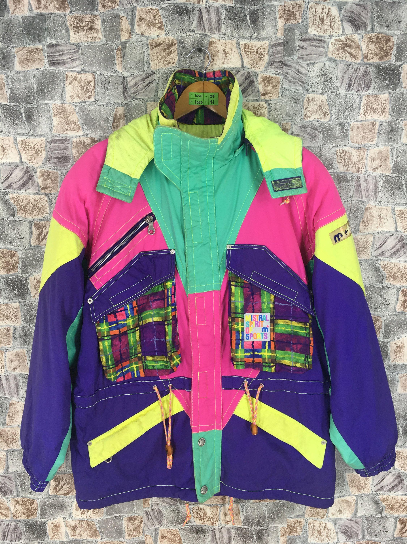 Retro Ski Jacket Obermeyer Neon Green w Retro Design So Cool! Mens Large- Iconic 80s 90s Skiwear!