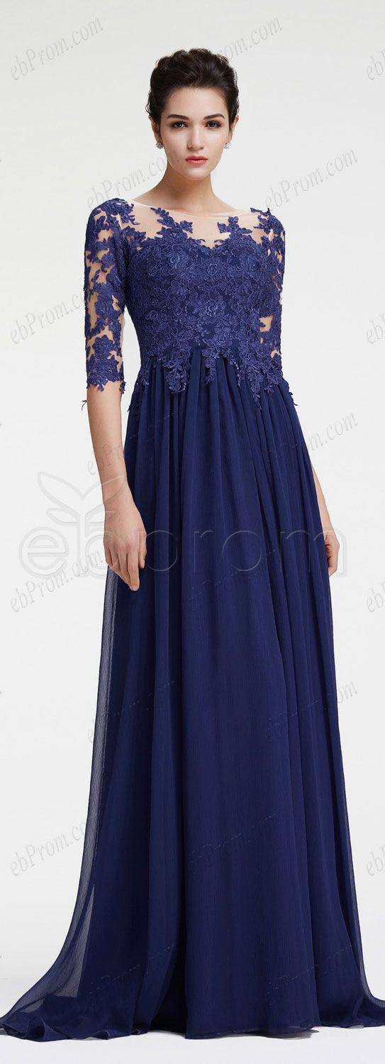 Navy blue mother of the bride dress with sleeves plus size for Blue wedding dress with sleeves