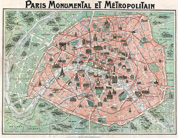 Antique Map of Paris France. PARIS MAP PRINT