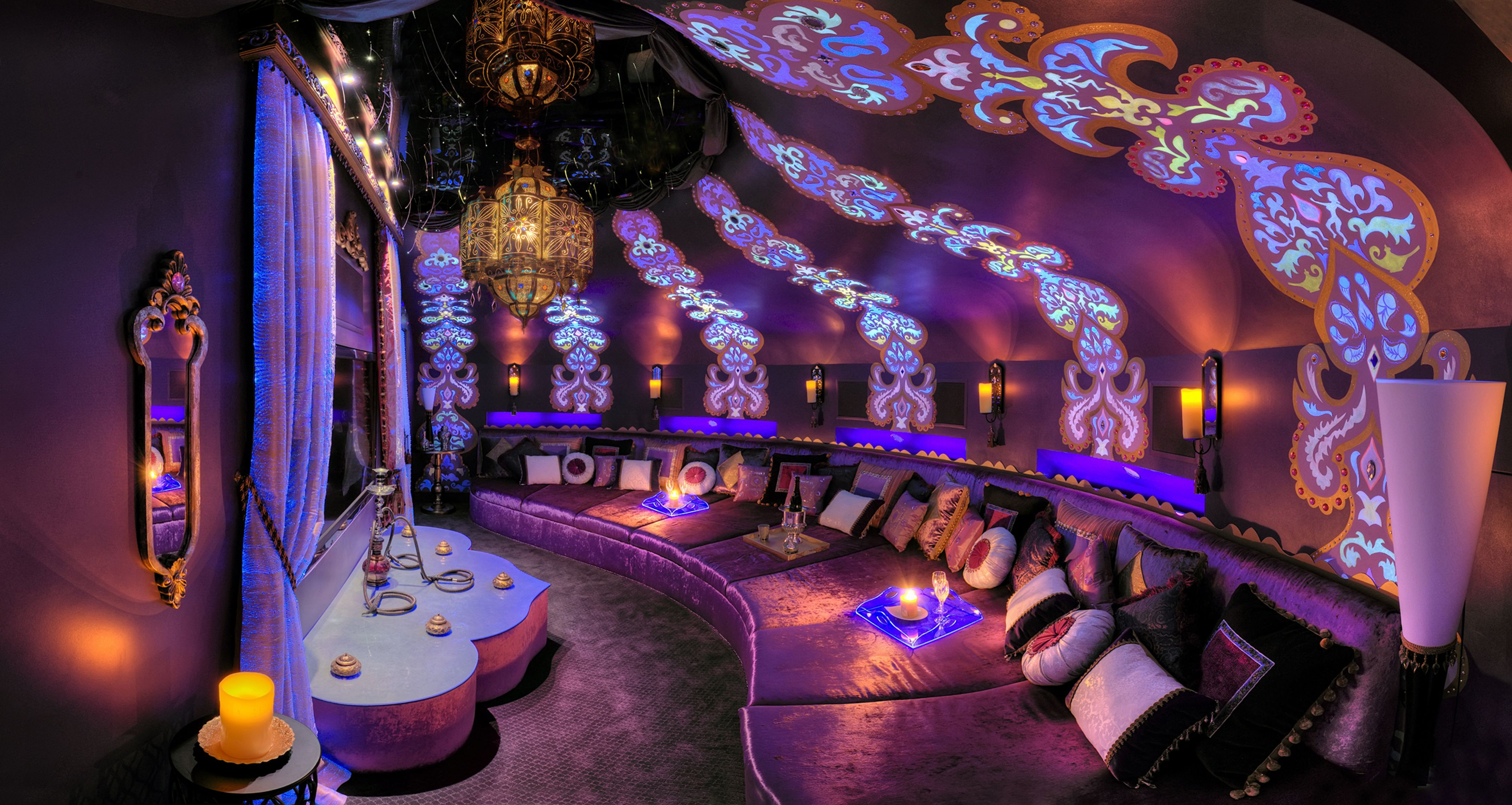 The Jeannie Room This Room Was Built To Look Like The Inside Of The I Dream Of Jeannie Bottle Pretty Clo Lounge Interiors Media Room Design Hookah Lounge
