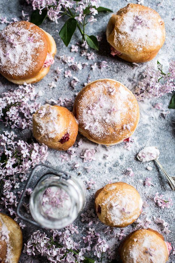 Strawberry Jelly and Vanilla Cream Brioche Doughnuts with Lilac Sugar. /