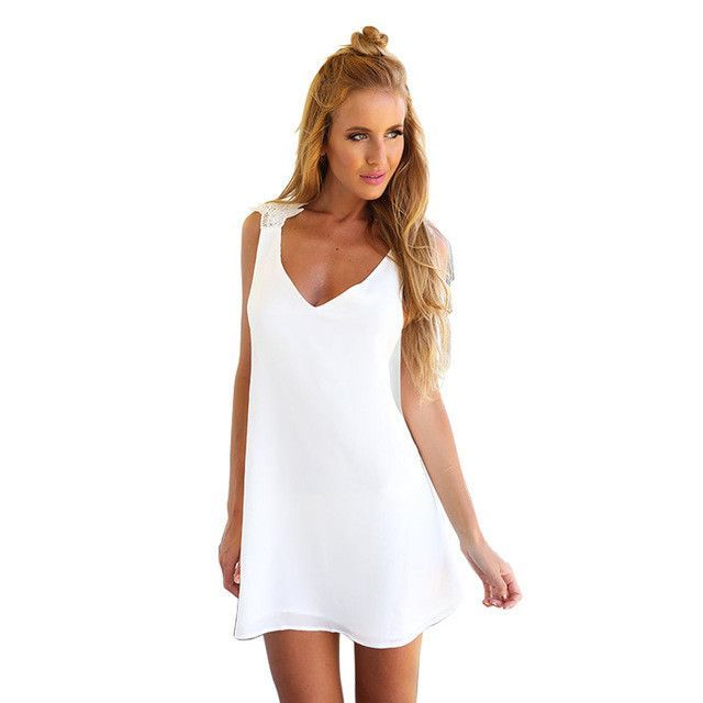 Women Summer Fashion A-Line V-neck Dresses,Beach Style Backless Mini Dress.Lady Holiday Wear Sexy White Clothing With Lace