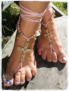 Gorgeous pastel cross barefoot sandals. Barefoot by 10TempleToes, $60.00