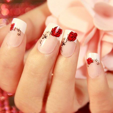 Rose nails red rose nail art manicure tips false nails tips nail sticker hello kitty on sale at reasonable prices buy red rose nail art manicure tipsfalse nails tips patchfake art display nails shipping from prinsesfo Choice Image