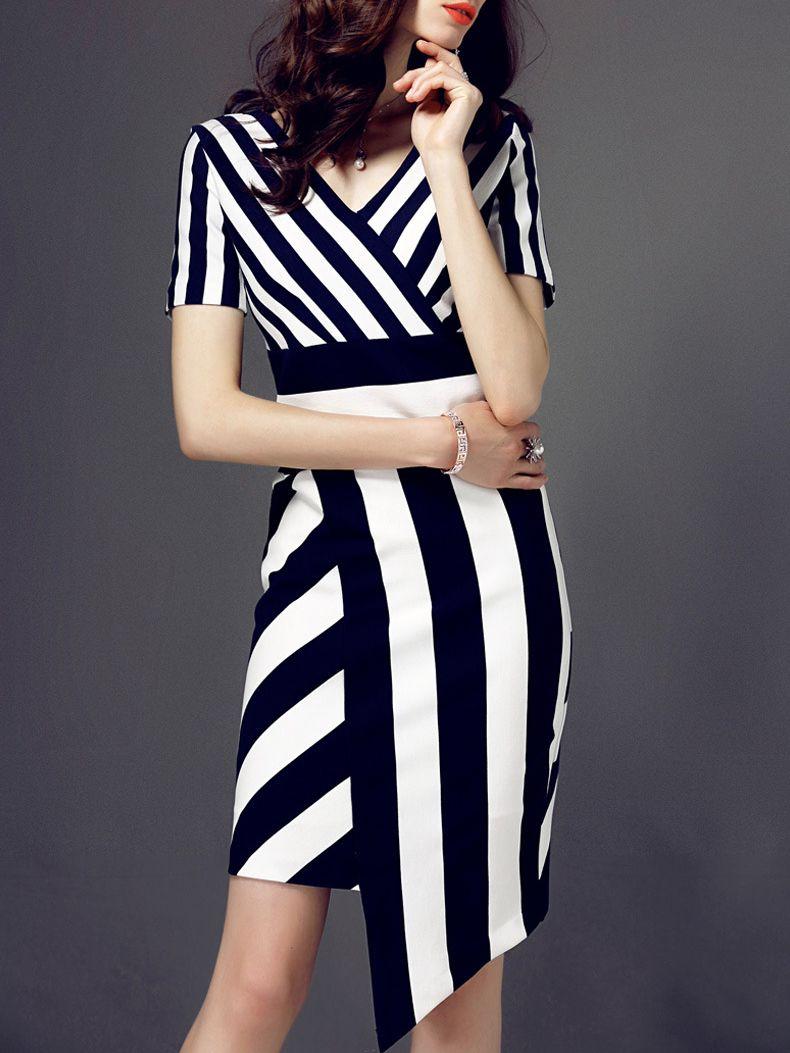 f82b20918c86 Buy Black White Striped V Neck Asymmetric Dress from abaday.com, FREE  shipping Worldwide - Fashion Clothing, Latest Street Fashion At Abaday.com