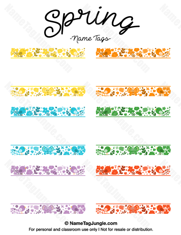 free printable spring name tags the template can also be used for creating items like - Spring Pictures To Download