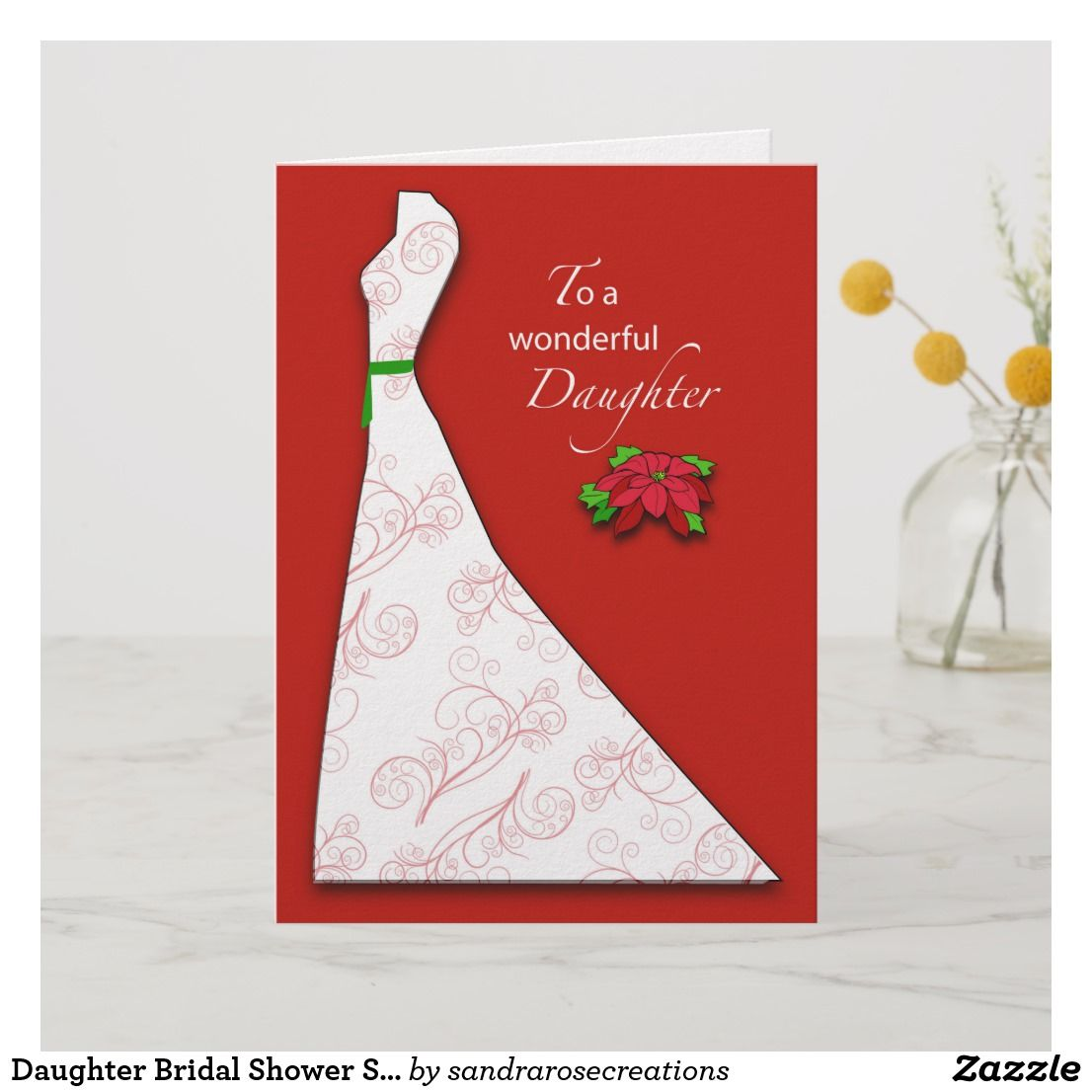 Daughter bridal shower silhouette christmas holiday card