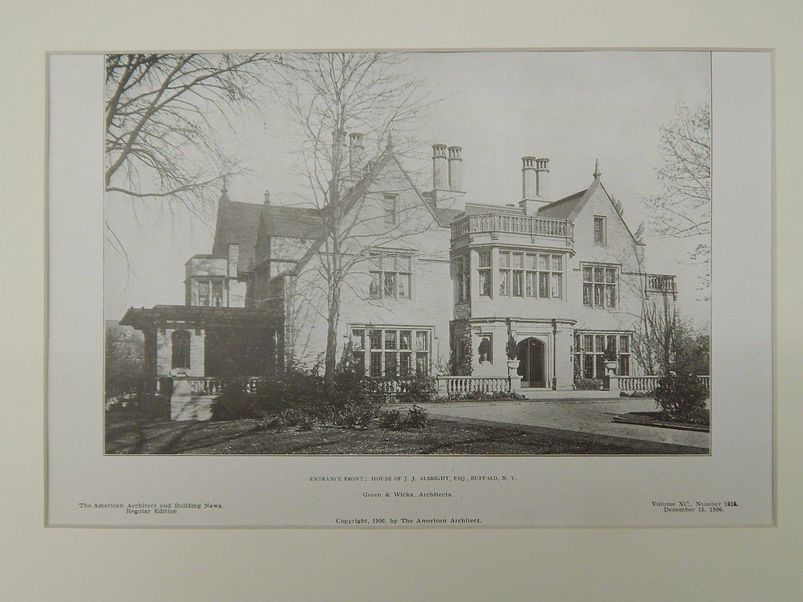 Entrance Front, House of J. J. Albright, Buffalo, NY, 1906, Lithograph