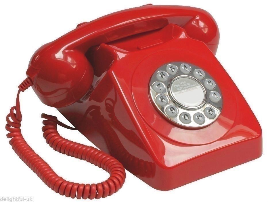 Retro Red Phone Vintage Desk Land Line Telephone Art Deco Antique