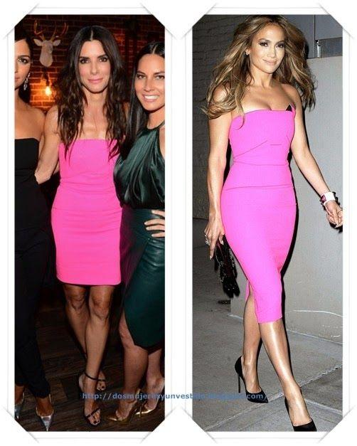 Un vestido rosa de Roland Mouret lo llevo, más corto, Sandra Bullock ...