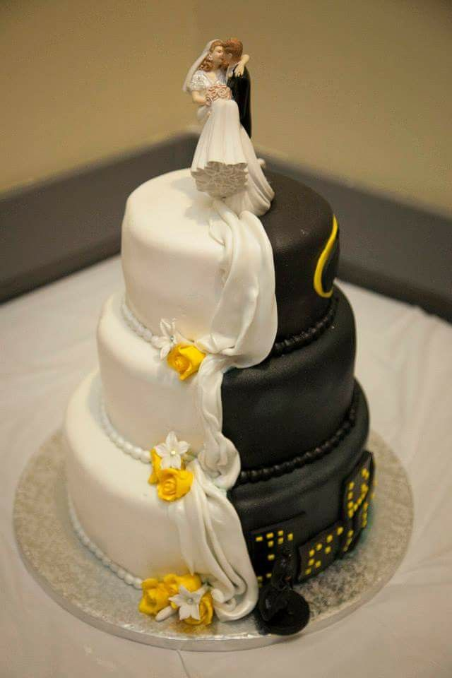 Half Batman Half Traditional Wedding Cake Wedding Cake