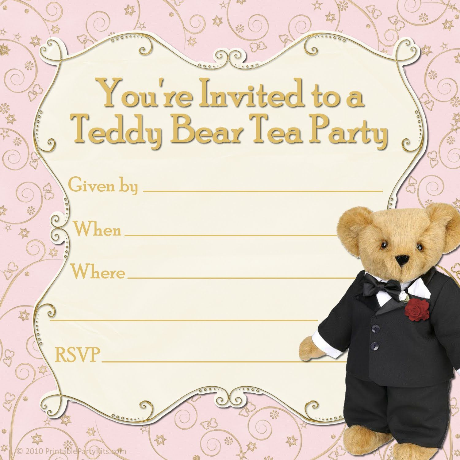 Teddy bear Party Invitations Templates Free | Free Printable Party ...
