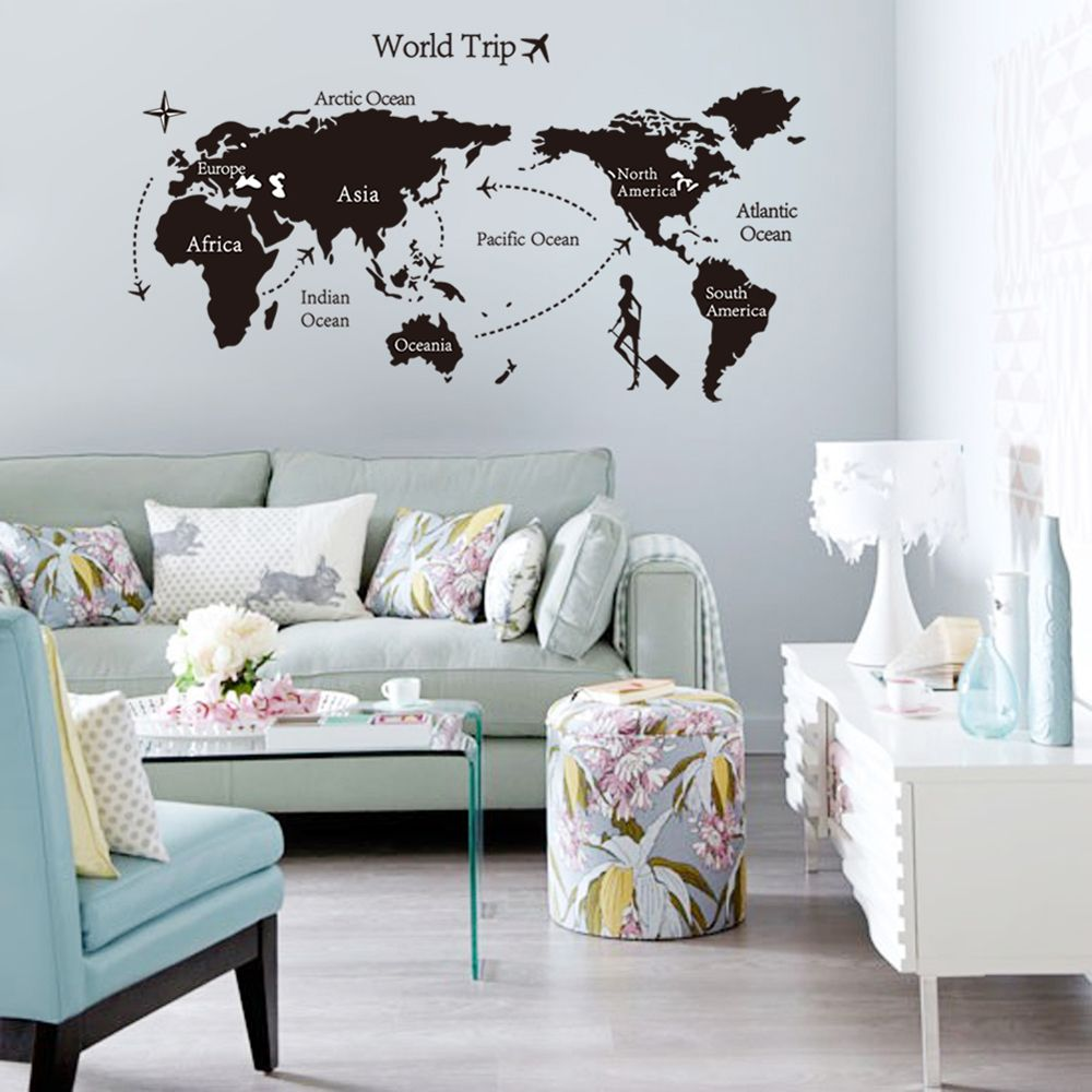 Stylova Mapa Sveta Google Search Wall Stickers Room Large