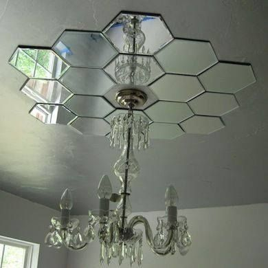 Mirrors On Ceiling With Hanging Chandelier