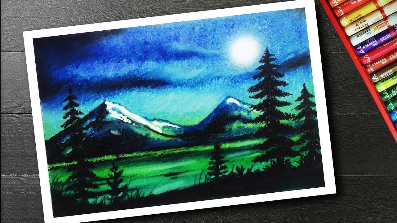 Moonlight Drawing For Beginners With Oil Pastel Landscape Scenery Oil Pastel Art Oil Pastel Drawings Oil Pastel Landscape