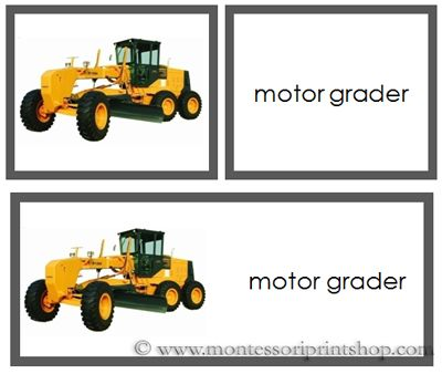 Construction Vehicles Words And Picture Cards Printable