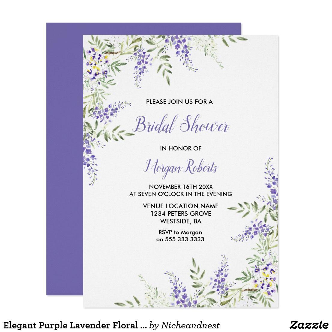 Lavender Bouquet Bridal Shower Wedding Invitations