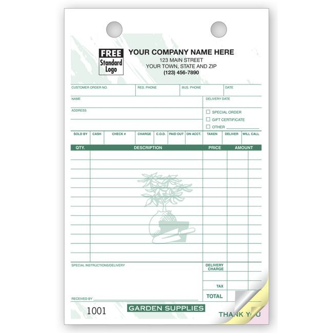 3 Part Nursery Supply Register Forms Receipt Template Nursery Supplies Letter Template Word