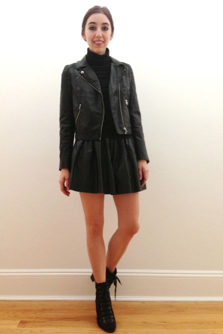 Leather Skirt With Leather Jacket - Dress Ala