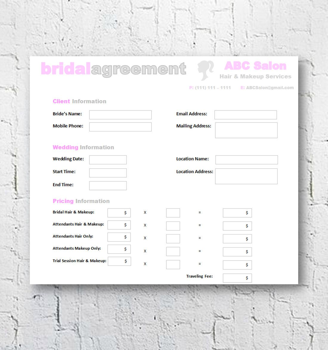 hair stylist & makeup artist bridal or event agreement