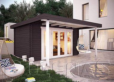 Exklusives Gartenhaus PANORAMA V Flachdach Gartenhaus, Haus