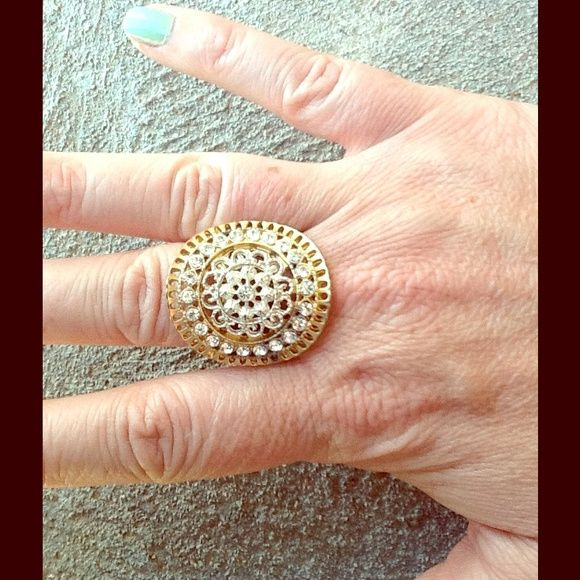 Gold, silver and rhinestone statement ring Stretch to fit any finger Accessories