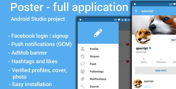 Download Free Poster App Android Application Cover Facebook Photo Post App Admin Panel Poster
