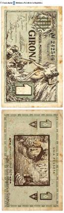 Girona - 1 pta. : Consell Municipal Girona, 1 pesseta :: Paper moneda del Pavelló de la República (Universitat de Barcelona)