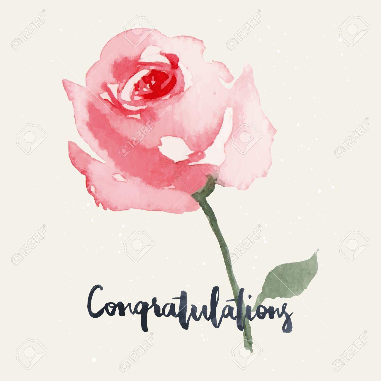 38363769 rose watercolor greeting card flowers handmade 38363769 rose watercolor greeting card flowers handmade congratulations kristyandbryce Images
